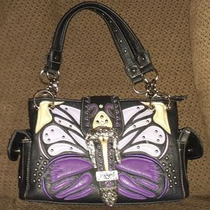 H W Collection Concealed Carry Butterfly Purse
